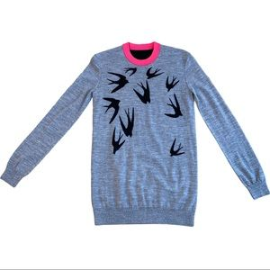 McQ Alexander McQueen Intarsia Birds Sweater Small
